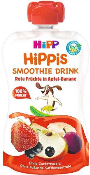 HIPP Био бебешко смути напитка с ябълка, банан и червени плодове 120гр.